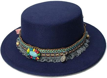 2019 Women Pure Felt Bowler Hat Wide Brim Fedora Stitching Bucket Hat for Women British Style Feminino Jazz Church Vintage Men (Color : Dark Blue, Size : 57-58cm)