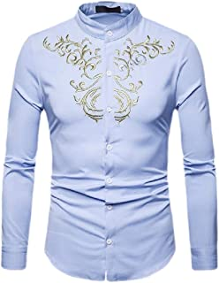 Macondoo Men Printed Stand Collar Retro Curved Hem Button Down Shirts