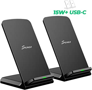 15W Wireless Charger, Seneo [2 Pack] Dual 7.5W Qi iPhone Wireless Charger for iPhone 11/11 Pro MAX/XR/XS/XS MAX/X/8/8P, 10W for Galaxy Note10/Note9/Note8/S10/S9/S8, 15W for LG V30/V40 (No Adapter)