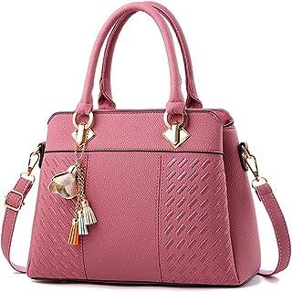 COAFIT Women Handbag Elegant Top Handle Shoulder Bag Hand Purse with Pendant (Pink)