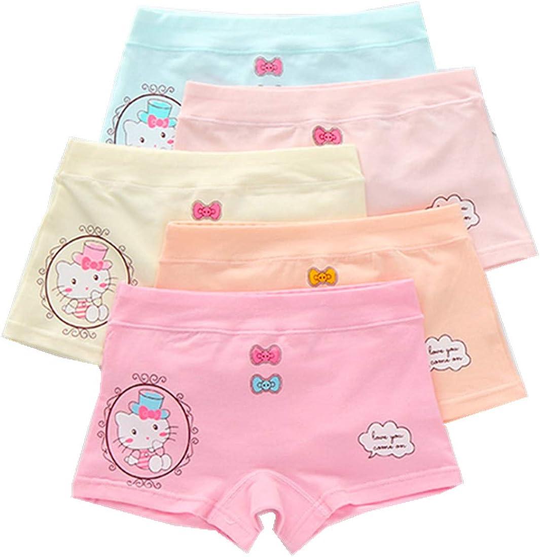 FOFJR 2-13 Years Old Girls Character Boyshort Panties Playful Graphic Underwear 5 Multipack