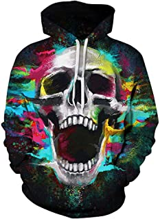 Halloween Costume Women Men Scary Skeleton Blood 3D Print Hoodie Sweatshirt Top