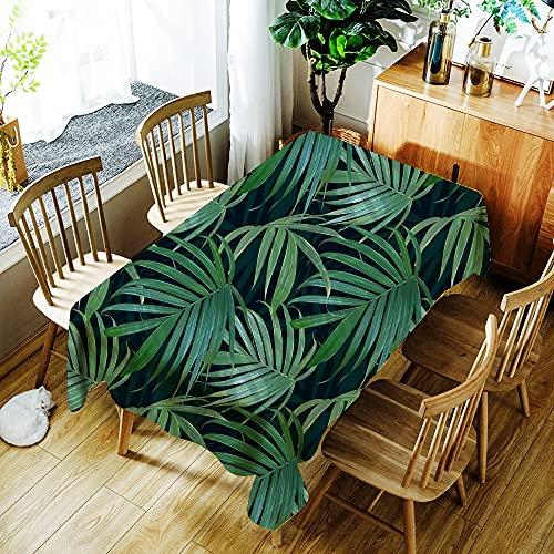 XXDD Mantel con Estampado de Hojas de Plantas Verdes Tropicales Impermeable para el hogar a Prueba de Polvo Cubierta de Mesa Rectangular Lavable A10 140x180cm