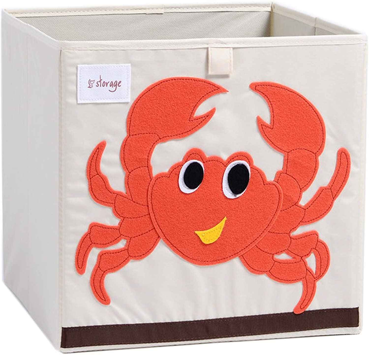 DODYMPS Foldable Animal Canvas Storage Toy Box Bin Cube Chest Basket Organizer for Kids, 13 inch (Crab)