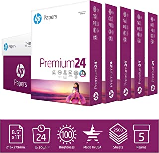 HP Printer Paper 8.5x11 Premium 24 lb 5 Ream Case 2500 Sheets 100 Bright Made in USA FSC Certified Copy Paper HP Compatibl...