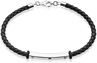 """Quadri - 925 Pure Sterling Silver Mens Bracelet with Vegan Leather 7-5""""-9""""- Handmade Made in Italy"""