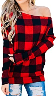 SySea Women's Plaid Shirt Off The Shoulder Slouchy Pullover