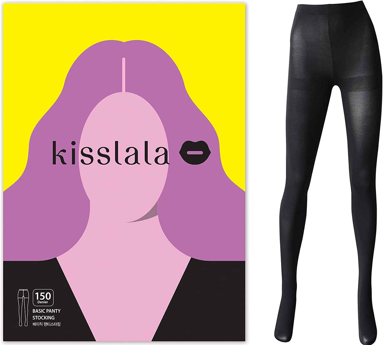 kisslala Korean Made Extra Durable Pantyhose Super Opaque Tights Blackout Reinforced Toe Control Top 150D