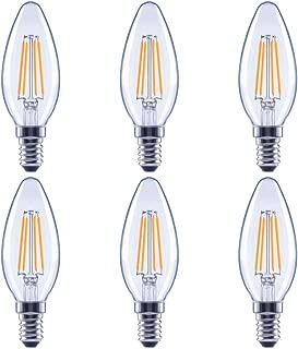 Global Value Lighting FG-03177 40-Watt Equivalent B11 Clear Glass Filament Dimmable Vintage LED Light Bulb, (6-Pack), Soft White (2700K Kelvin)