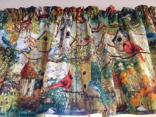 Summer Beautiful Birds Birdhouses Cotton Window Curtain Valance Handmade 42W x 15L Fabric