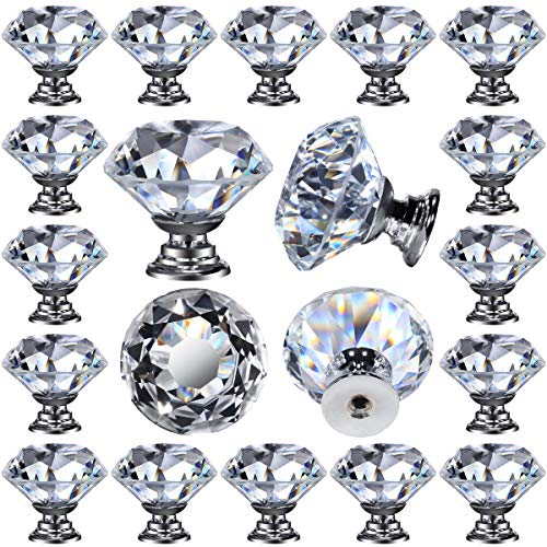 26 pcs Glass Cabinet Knobs Crystal Drawer Pulls Clear 30 mm Diamond for Kitchen, Bathroom Cabinet, Dresser and Cupboard by DeElf