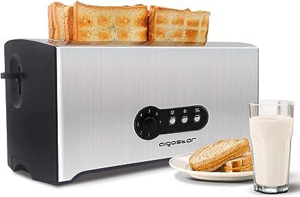 Aigostar Sunshine 30KDG - Tostadora de 4 rebanadas, 1600 W, 7 configuraciones de tostado, ranuras extra largas, bandeja recogemigas extraíble, acero inoxidable. Libre de BPA. Diseño exclusivo.
