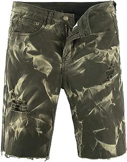 chouyatou Men's Distressed Knee Length Raw Hem Ripped Denim Jean Shorts