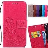 LEMORRY Funda para Xiaomi Redmi Note 4X Carcasa Tapa Bolsa Piel Cuero Flip Cover Billetera Con Clips de Dinero Slim Protector Magnética Cierre TPU Silicona Estuches, Trébol de la suerte Rosa