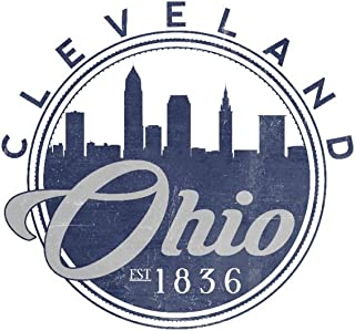Cleveland, Ohio - Skyline Seal (Blue) (16x24 Giclee Gallery Print, Wall Decor Travel Poster)