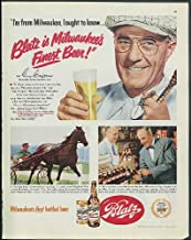 Harness racing driver Guy Crippen I'm from Milwaukee Blatz Beer ad 1951