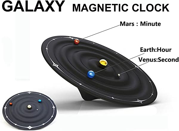 Besplore Galaxy Magnetic Clock Wall Clock Desktop Clock Black