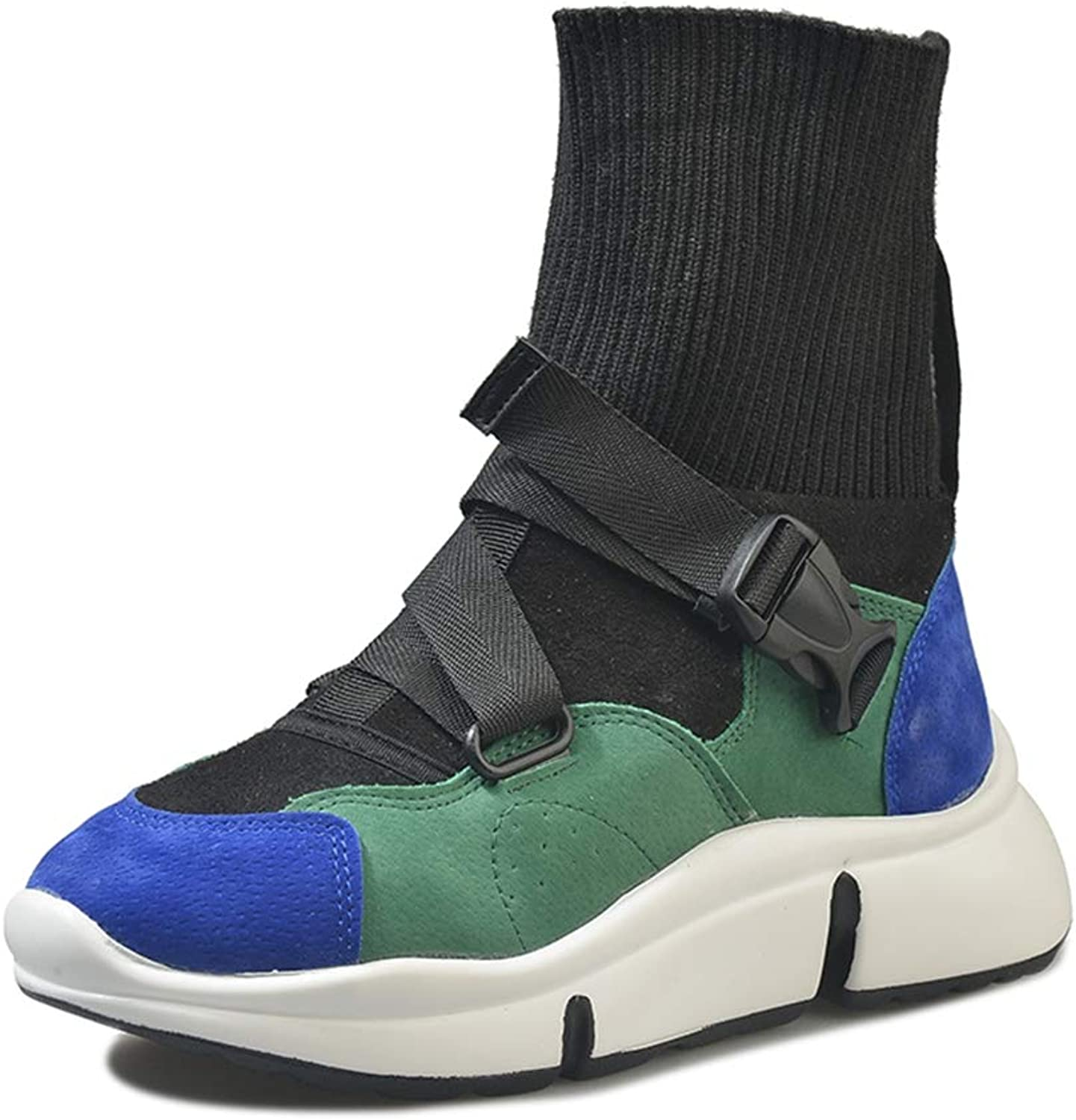 Fashion Sock Ankle Boots Women High Top Sneakers Stretch Fabric Casual Platform shoes Woman Rubber Footwear