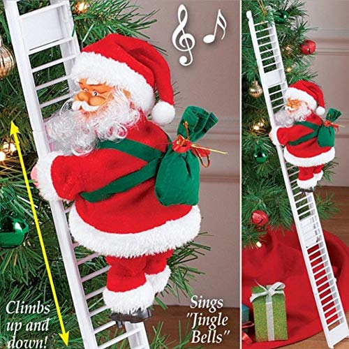 Babyyon Electric Santa Climbing Ladder with Lights Plush Doll Toy Christmas Wall Doll Decoration for Christmas Party Home Door