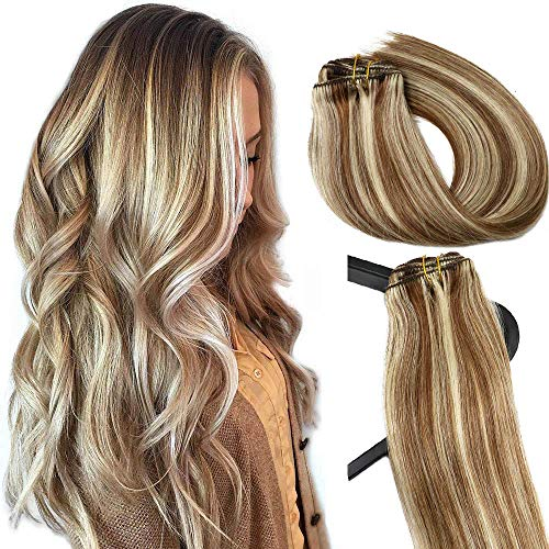 Human Hair Extensions Clip in Light Brown to Blonde Highlights 15 inch Real Human Hair balayage Hair 7 PCS Full Head Silky Straight Long Clip on Hair Extensions 70g Remy Hair