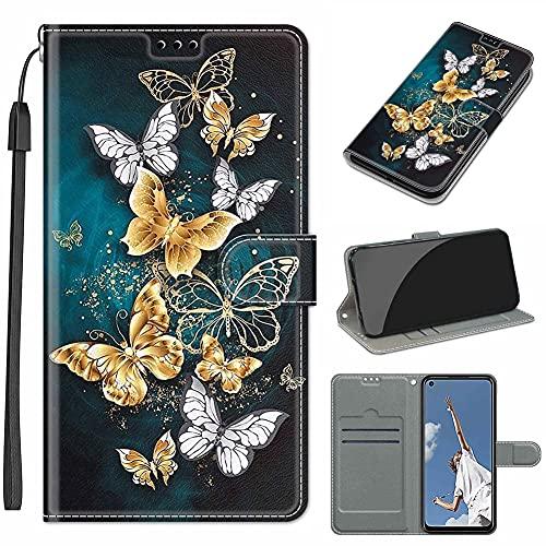 GARITANE Funda Compatible con iPhone 7/8,Cartera Cuero con Iman Cierre Tarjetero Libro Bum Shell Cover Carcasa Flip Case (Mariposa Dorada)