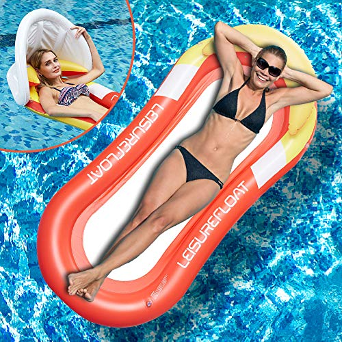 Water Floating Hammock, Pool Lounge with Canopy Headrest, Inflatable Pool Float Swimming Pool Inflatable Floating Bed & Floating Chair, Beach Mat for Adult Kids Summer Outdoor Swimming