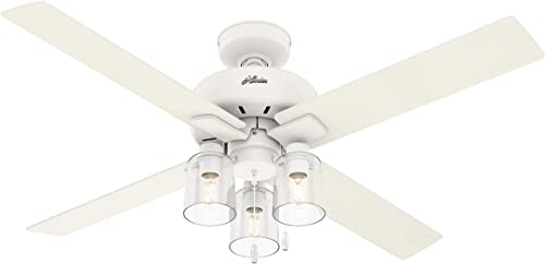 """discount Hunter Pelston Indoor Ceiling Fan popular with sale LED Light and Pull Chain, 52"""", Matte White sale"""