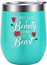 Looks Like A Beauty Drinks Like A Beast - Funny 21st Birthday, Christmas Gifts - Best Friend Friendship Gifts for Women Girls, Bestie, Sister, Daughter, Her - LEADO Disney Princess Belle Wine Tumbler