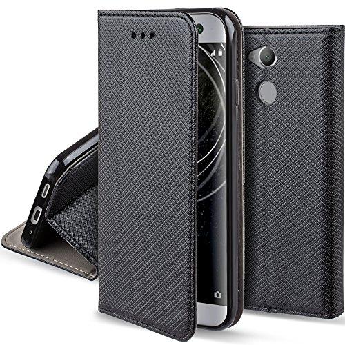 Moozy Coque a Rabat pour Sony Xperia XA2, Noir - Housse Étui Fin Smart Magnétique avec Porte-Cartes et Support