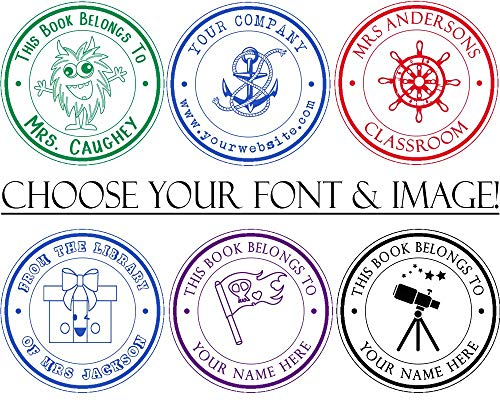 Pick Your Font and Your Image! from The Desk of Teacher or Student Self Inking Stamp. Library Book Label with Pirates, Monsters, Nautical, Space Planet, Truck and Party Theme Options