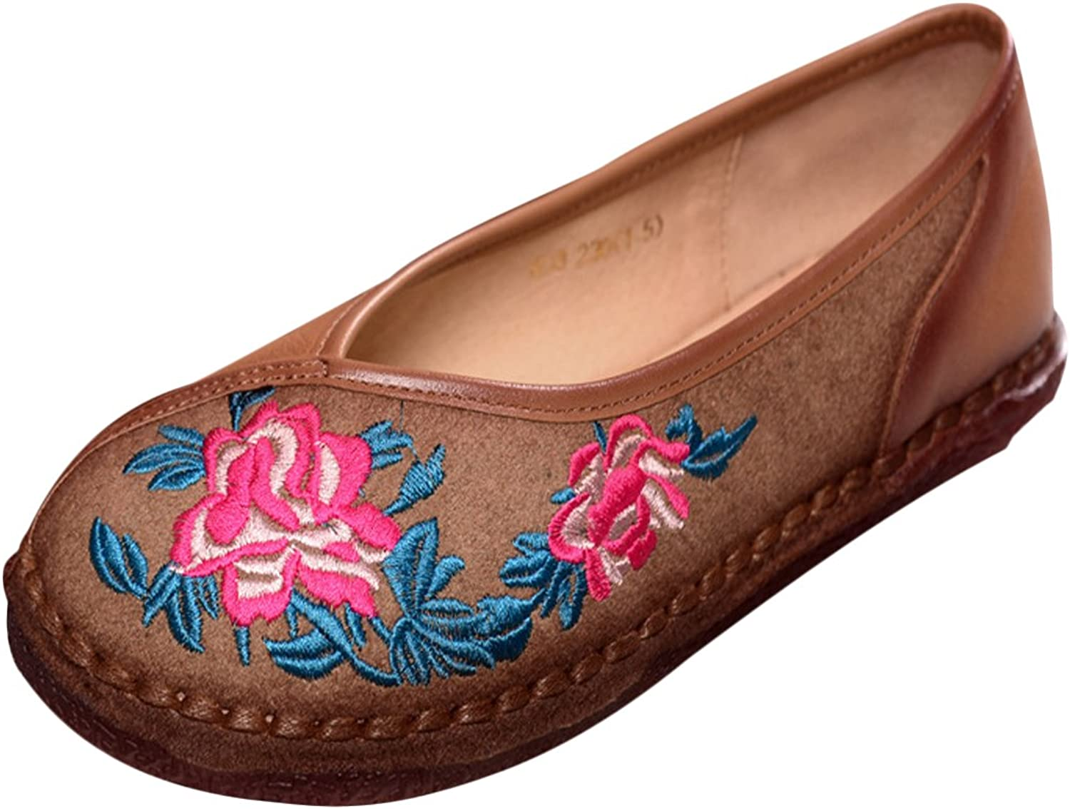 LIVEINU Women's Embroidery Sewing Flat shoes,Handmade