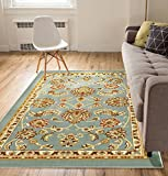 Well Woven Non-Skid/Slip Rubber Back Antibacterial 8x10 (7'10' x 9'10') Area Rug Timeless Oriental Blue Traditional Classic Sarouk Thin Low Pile Machine Washable Indoor Outdoor Kitchen Hallway Entry