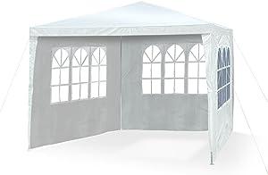 JOM JOM Tente de réception pliante 3 x 3 m, épaisseur 24/18 mm ,4X parois laterales 3 fenêtres, accès à fermeture éclair - Matière toile résistante polyéthylène: PE 110g/m², imperméable waterproof Blanc