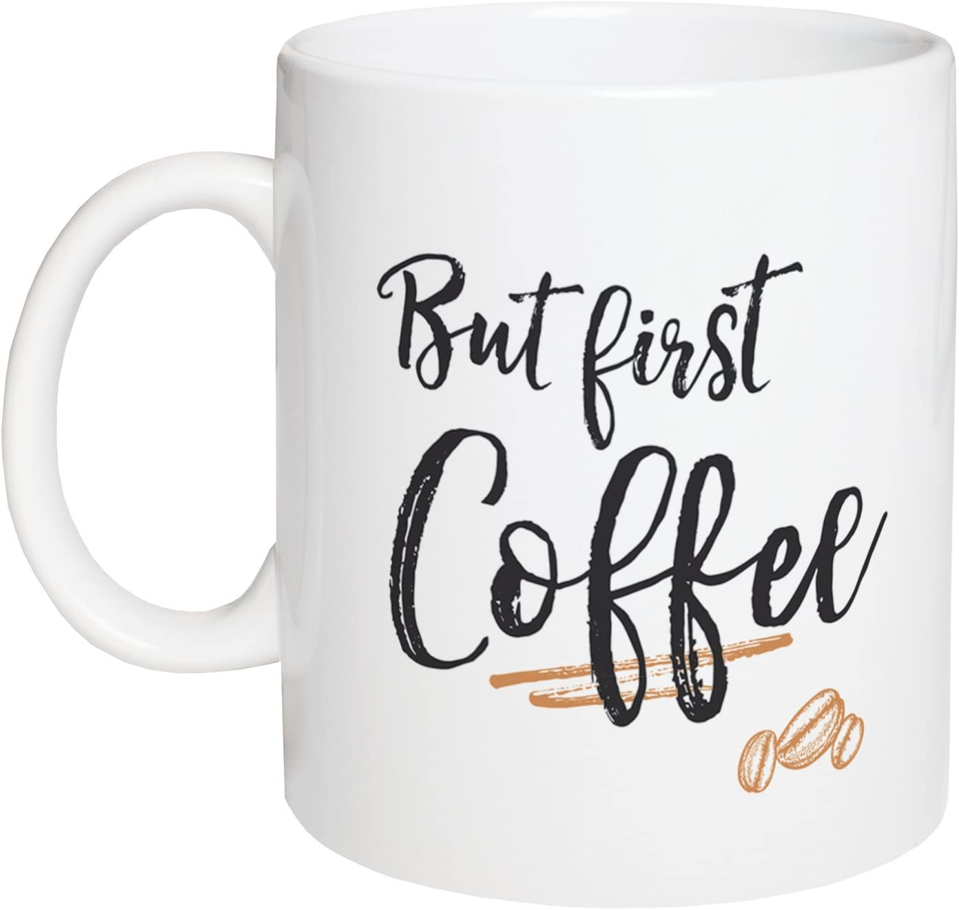 But First Coffee Design White 15 Ounce Ceramic Coffee Mug Kitchen Dining