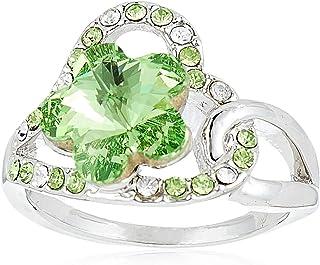 Robella Swarovski Elements Ring Encrusted With Green Swarovski Crystals ROB-039 Size 6