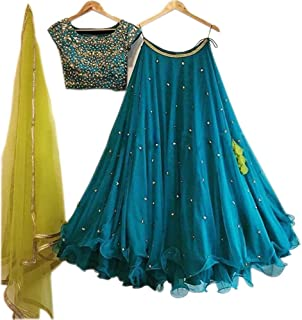 Gloxi Women's Blue Color Embroidered work Lehenga Choli