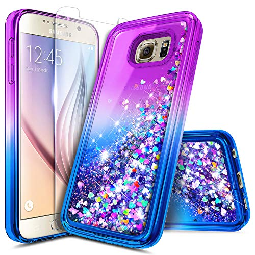 NZND Case for Samsung Galaxy S6 Edge Plus with Screen Protector, Glitter Liquid Floating Waterfall Durable Girls Cute Phone Case Cover -Purple/Blue