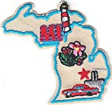 'MI' - MICHIGAN STATE SHAPE PATCH - Iron On Embroidered Applique/Midwest,Cars