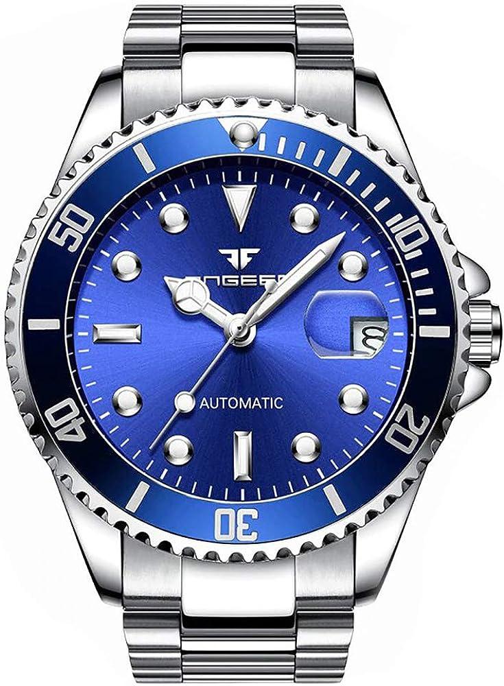 Reloj Automático Clásico con máquina a la Vista y Pulsera de Acero Inoxidable para Hombre