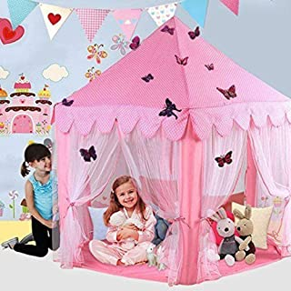 Porpora Kids Indoor/Outdoor Princess Castle Play Tent Fairy Princess Portable Fun Perfect Hexagon Large Playhouse Toys for Girls,Boys,Children Toddlers Gift/Present Extra Large Room 55