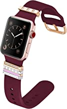 QINGQING Sport Band Compatible with Apple Watch Band 42mm 44mm with Charms, Silicone Wristband Women Compatible with iWatch Series 4, Series 3, Series 2, Series 1 (Wine Red, 42mm)