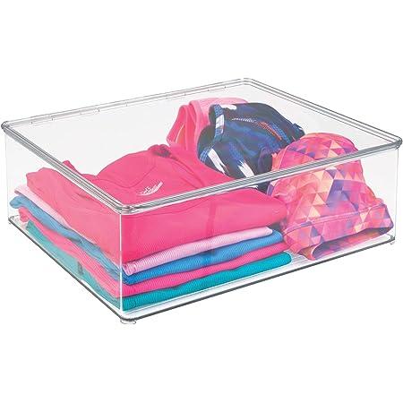 mDesign Boîte de rangement – panier de rangement idéal pour ranger vos vêtements et comme rangement d'armoire - pratique bac de rangement avec le couvercle – transparent