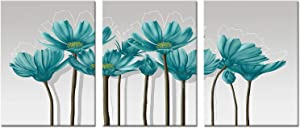 Kalormore 3 Pieces Elegant Teal Grey Flowers Painting Picture Floral Giclee Prints Canvas Wall Art Decoration for Modern Home Living Room Bedroom Bathroom Decortion