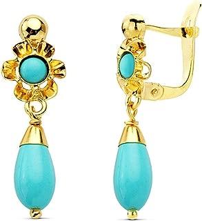 18K Gold Earrings For Girl Long Turquoise Teardrop 22mm. Catalan Close