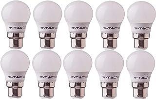 Bombillas de bola de golf V-Tac LED 3w G45 - Paquete de 10 bombillas - B22 / BC/Tapa de bayoneta estándar - Blanco cálido 2700K / 250 lúmenes