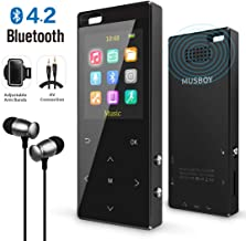 $36 Get MP3 Player, MP3 Player with Bluetooth, Hi-Fi Lossless Sound Music Player with FM Radio, Voice Recorder, Pedometer, Expandable up to 128GB TF Card, with Armband and Earphone, Black