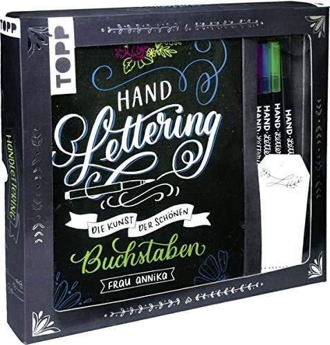 Kreativ-Set Handlettering: Buch mit Anleitungen und Inspirationen sowie 3 Brush Pens, Kalligraphiestift und 6 Geschenkanhängern (Buch plus Material)