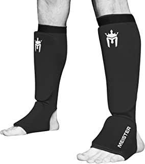 Meister MMA Elastic Cloth Shin & Instep Padded Guards (Pair)