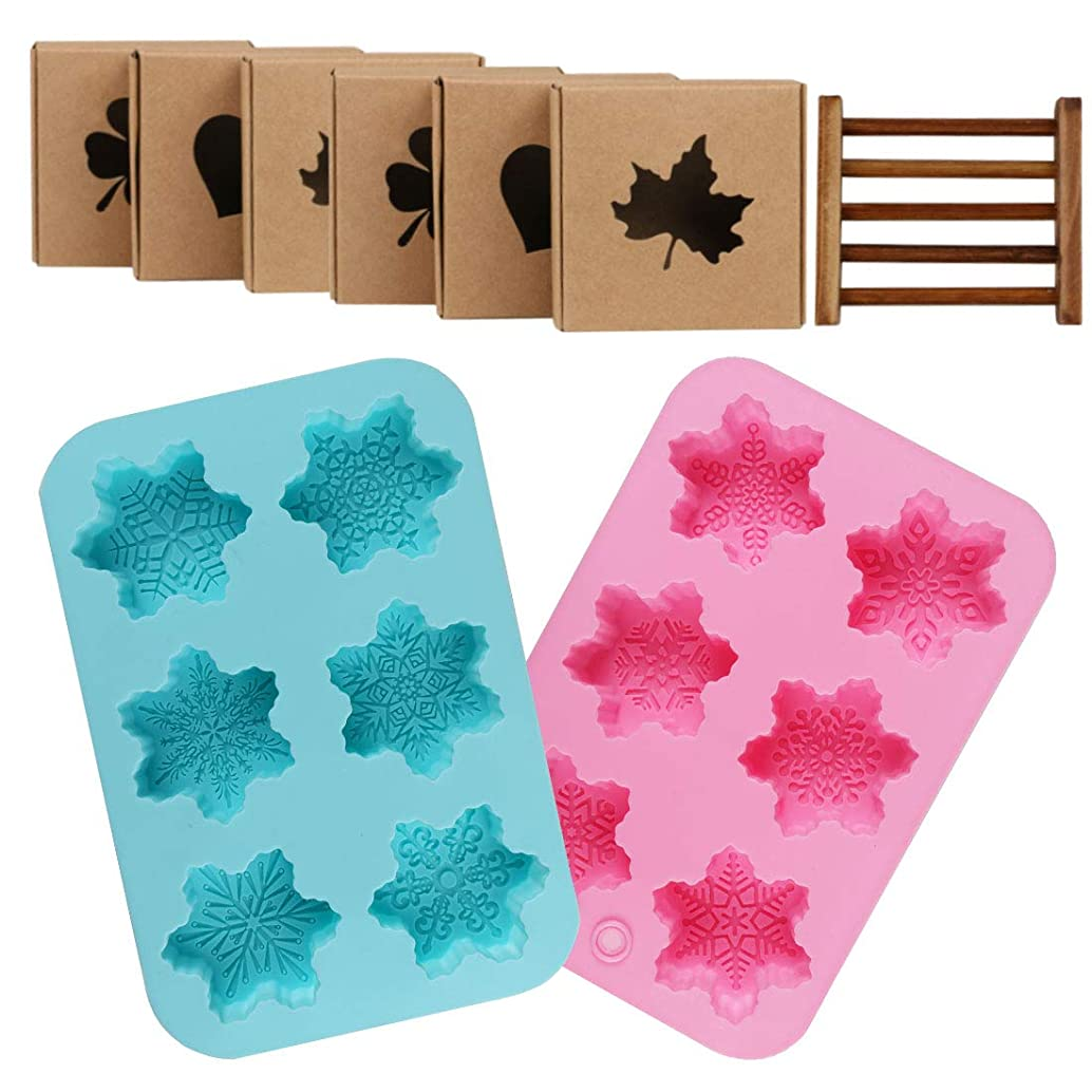 Snowflake Silicone Soap Mold, Kissbuty 2 PCS Snowflake Cake Candle Soap Handmade Christmas Mold and 6 PCS Kraft Paper Boxes and 1 PC Wooden Soap Holder, Pack of 9