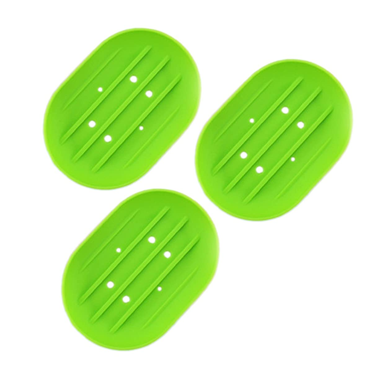 予約思い出委任BESTOMZ ソープディッシュソープホルダー, 石鹸トレイ乾燥石鹸バー 浴室用キッチン用3連グリーン用